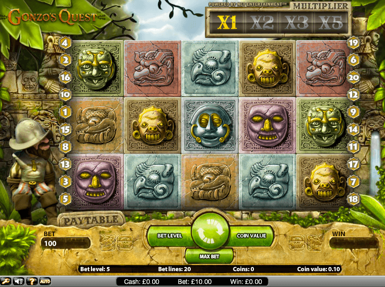 Gonzo's Quest slots at Lucky Admiral